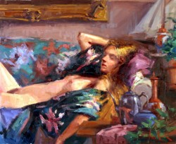 Figure Reclining on Couch by George Van Hook