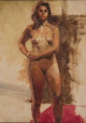 Jim Schanz, Oil Sketch of Figure with Red Cloth
